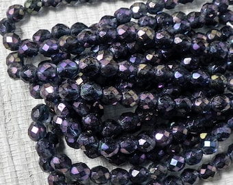 8mm Luster Iris Montana Blue Round - 1083 - Czech Glass Faceted Round - 25 beads