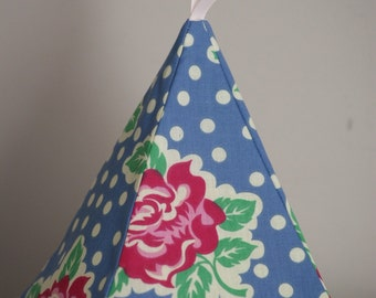 Fabric Doorstop - Pink Rose With Blue