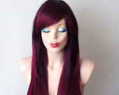 Burgundy wig. Burgundy wig. Wine red Ombre wig. Long straight hairstyle wig. Dark red hair wig.