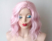 Beach wavy hairstyle wig. Pastel light pink color wig. Short pink hair wig. Pink wig. Baby pink curly wig