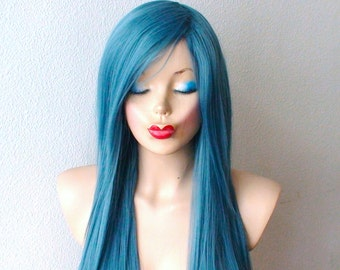 Dark Teal Blue wig. Long straight hairstyle long side bangs Heat resistant synthetic wig for daily use or Cosplay.