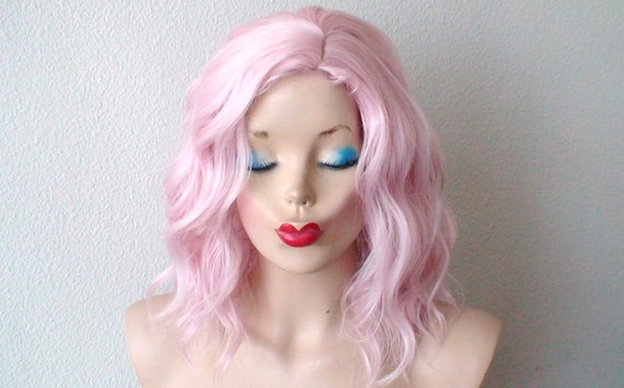Pinks Hair Style: Beach Wavy Hairstyle Wig. Pastel Light Pink Color Wig. By