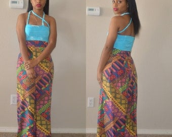 Turquoise Bandeau Braided Top w/ Two Braids