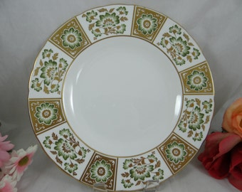 """Vintage Royal Crown Derby English Bone China """"Green Derby Panel"""" Dinner Plate - 5 Available"""