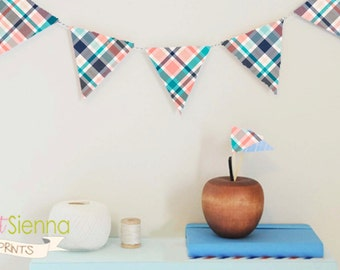 Bunting Banner, Party decor, printable Party banner, printable bunting, party bunting , garland, Tartan bunting, party printables