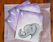 Wall art, Goodnight Elephants, nursery, purple 8 x10""