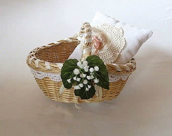 Flowergirl Basket With Ring Bearer Pillow, Country Wedding Accessory