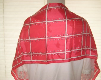 red white silk like neck scarf, vintage scarf, oblong scarf, polyester but feels like silk, small to medium, 1109