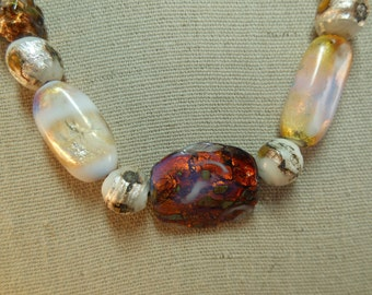 SALE Vintage Czech Foil Glass Bead Necklace
