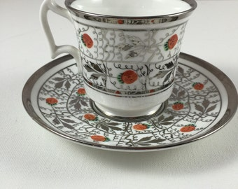 Royal Chelsea Platinum Trimmed Wild Strawberries Teacup and Saucer