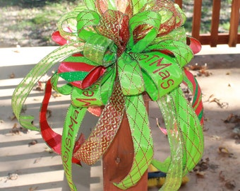 Christmas Tree Bow Topper Red and Green
