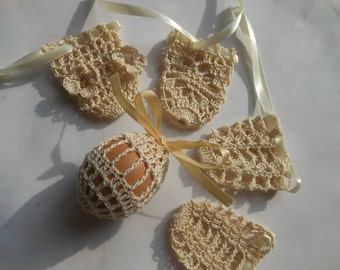 Crochet Easter Egg Cover, Set of 5 Hand Crocheted Easter Eggs Easter Decoration