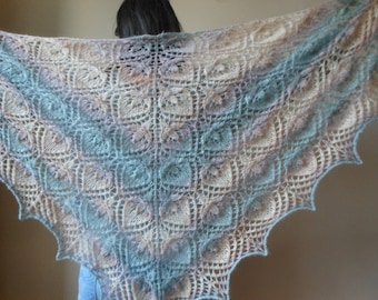 Lace shawl mohair yarn  grey beige , hand knitted
