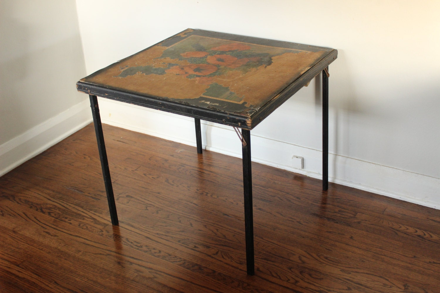 Beautifully Aged Vintage Wood Folding Card Table With Flowers. Industrial Pool Table Light. Under Desk Footrest. Extendable Table. Rustic Knobs And Drawer Pulls. Childrens Desk Ikea. Navy Table Runners. Table Linen Wholesale. Desk Chair Comfortable