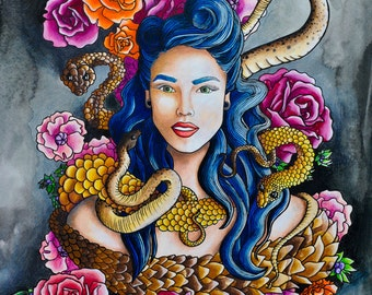 Rockabilly Woman with Snakes Painting Print