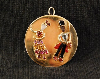 Vintage 14k Gold Fred And Ginger Pin Pendant Adorned With Stunning Gems