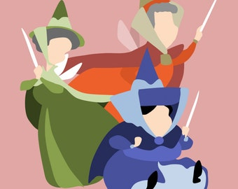Flora, Fauna, and Merryweather Minimalist Poster