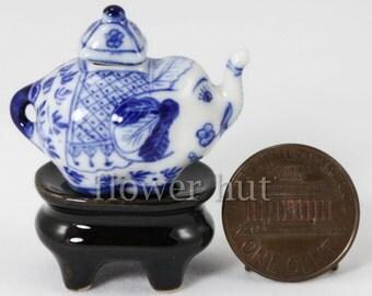 Premium Dollhouse Miniature ELEPHANT TEA POT w Stand Porcelain Ceramic pot 1:12 scale