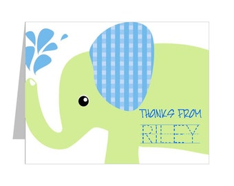 elephant thank you notes personalized with your childs name and custom traceable message custom elephant