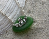 RESERVED FOR MB Claddagh Sea Glass Necklace