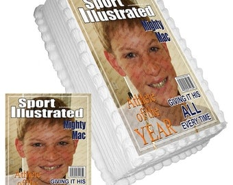 Fun Novelty Magazine Cover (Add a Photo) Birthday Edible Frosted Icing Picture Decal Cake Topper Sports Athlete of the Year (NT007)
