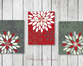 Christmas Art Print Set, Christmas Wall Art // Flower Bursts And Snowflakes  //