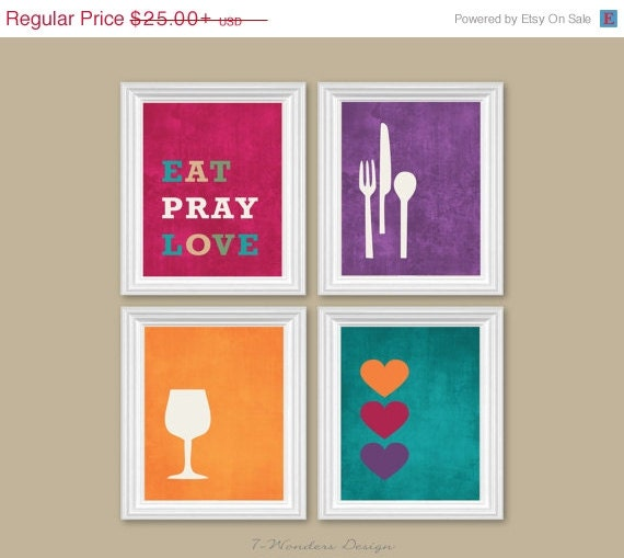 On sale modern kitchen wall art print set by 7wondersdesign for Art prints for kitchen wall