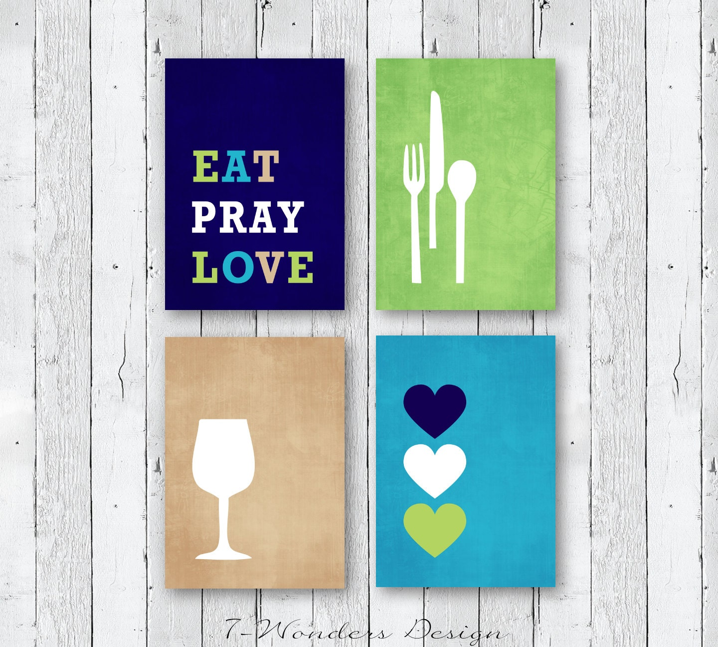 Modern Kitchen Wall Decor Eat Pray Love Trio By: Modern Kitchen Wall Art Print Set Inspirational Eat Pray