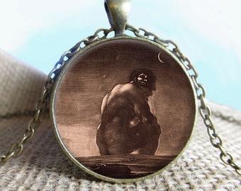 El Coloso Francisco de Goya Jewelry, Goya Necklace Image Pendant Jewelry, Photo Jewelry Glass Pendant Gift, Etching, Famous Artist