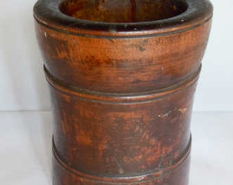 SALE - Antique Walnut Wood Mortar, Treen