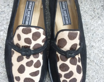 SALE Hipster Stuart Weitzman Black Suede Loafers Faux Leopard Made in Italy Size 9 M 1980s