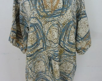Vintage Bark Cloth Tunic Atomic Design Hand Made 70's Tunic Dress Size Large for Up Cycle Re-Cycle