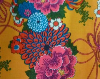 """Vintage Bark Cloth Fabric Neon Floral Print with Border 70's Tablecloth 44"""" X  88"""" Dead Stock"""