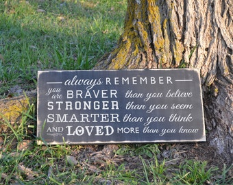 Always Remember Winnie the pooh kids inspirational painted wood sign sign