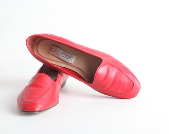 Size 8.5 Women's Red Leather Loafers, Slip On Flats