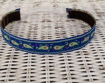 Blue Paisley Headband - Womans Running Headband