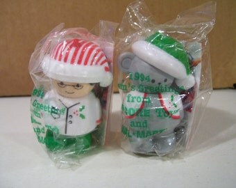 Vintage Shellcore Christmas Dad & Christmas Mouse Figures, Vintage Toy, 1994, New