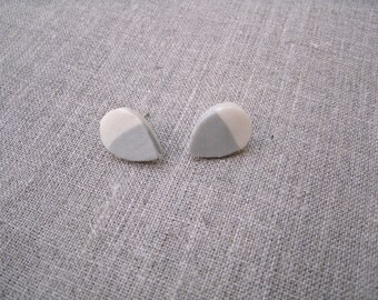 Color Dipped Grey and Cream Teardrop Polymer Clay Earrings