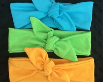 Solid Cloth Knot Headband, Blue, Green, Yellow, Baby Headband, Child Headband, Boho Headband