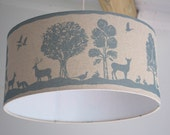 Woodland Creatures lampshade proudly hand made in Great Britian