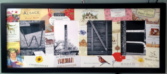 "Framed Letter Art ""WINE"" with wine label matting"