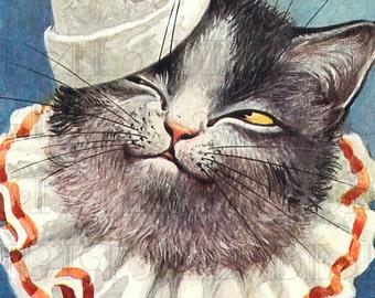 CAT Clown  VINTAGE Kitty Digital ILLUSTRATION. Digital Cat Download. Vintage Cat Print.