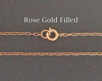 Rose Gold Filled necklaces chain cable 16 18 20 22 24 26 28 30inch - rose gold neclaces - dainty finish neclaces with clasp rose gold