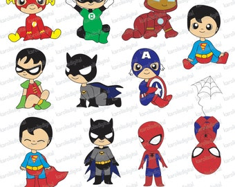 Baby superheroes - digital clip art set - ironman, spiderman, superman - Personal & commercial use
