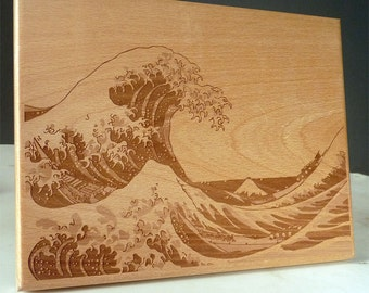 hokusai woodblock etsy. Black Bedroom Furniture Sets. Home Design Ideas
