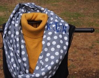 Grey and White Polka Dot Handmade Infinity Scarf, Blue Monogram, Loop Scarf, Bridesmaid Gift