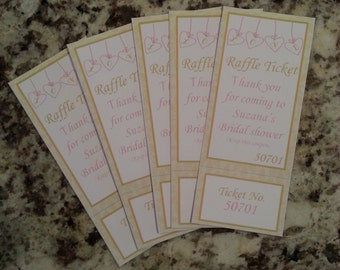 Perforated Hearts Bridal Shower Raffle Tickets