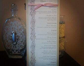 Elegant Champagne and Lace Wedding Menu