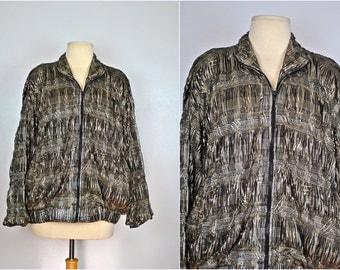 Unique Metallic Coat With Multiple Gathers, Vintage Plaid Metallic Jacket