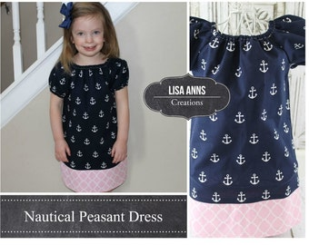 Nautical Peasant Dress Anchor Dress Baby Girl Peasant Dress Navy Blue Toddler Dress Girls Twirl Dress, 1st Birthday Dress Party Dress